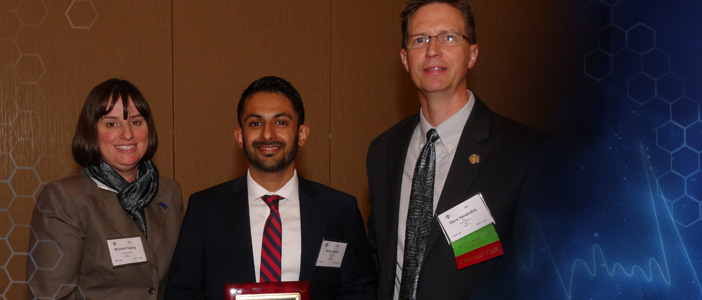 Wyle Scholarship - Rahul Suresh, MD (In photo - Michelle Frieling, Wyle Representative; Dr. Rahul Suresh; Vander Ark)